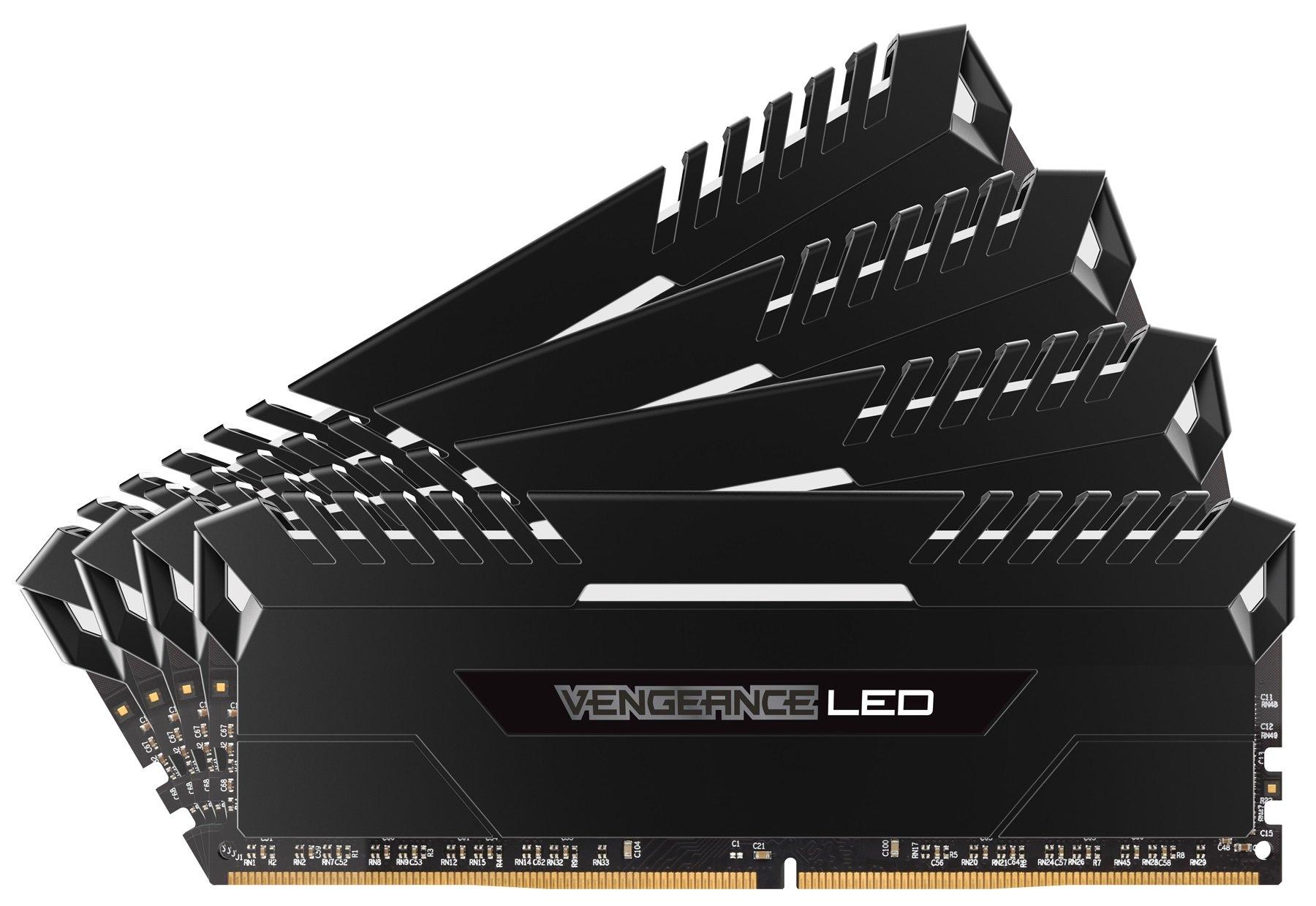 Corsair Vengeance 64GB (4x16GB) DDR4 3200 (PC4-25600) C16 for Intel 100, White LED (CMU64GX4M4C3200C16)