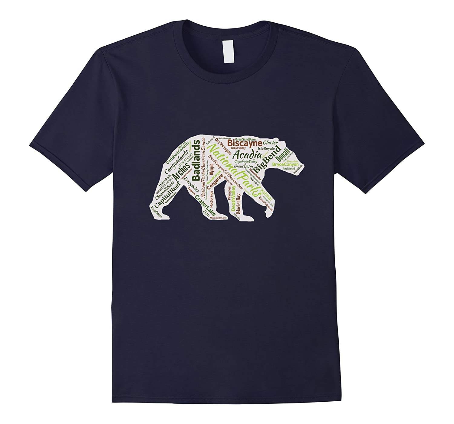 All 59 National Parks Bear Word Cloud T-Shirt-TH