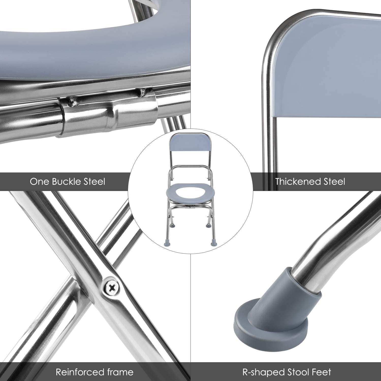 Trips. Hiking Stainless Steel Bedside Commode Chair Perfect for Camping VETIN Folding Commode Chair Portable Toilet Seat