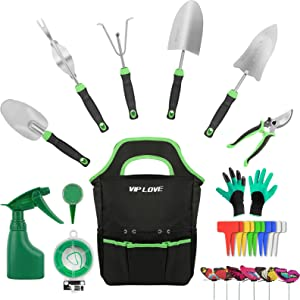 VIP LOVE 27PCS Garden Tool Set - Stainless Steel Heavy Duty Gardening Tool Kits with Non-Slip Ergonomic Handle Tools, Durable Storage Bag, Gifts for Gardening Lover