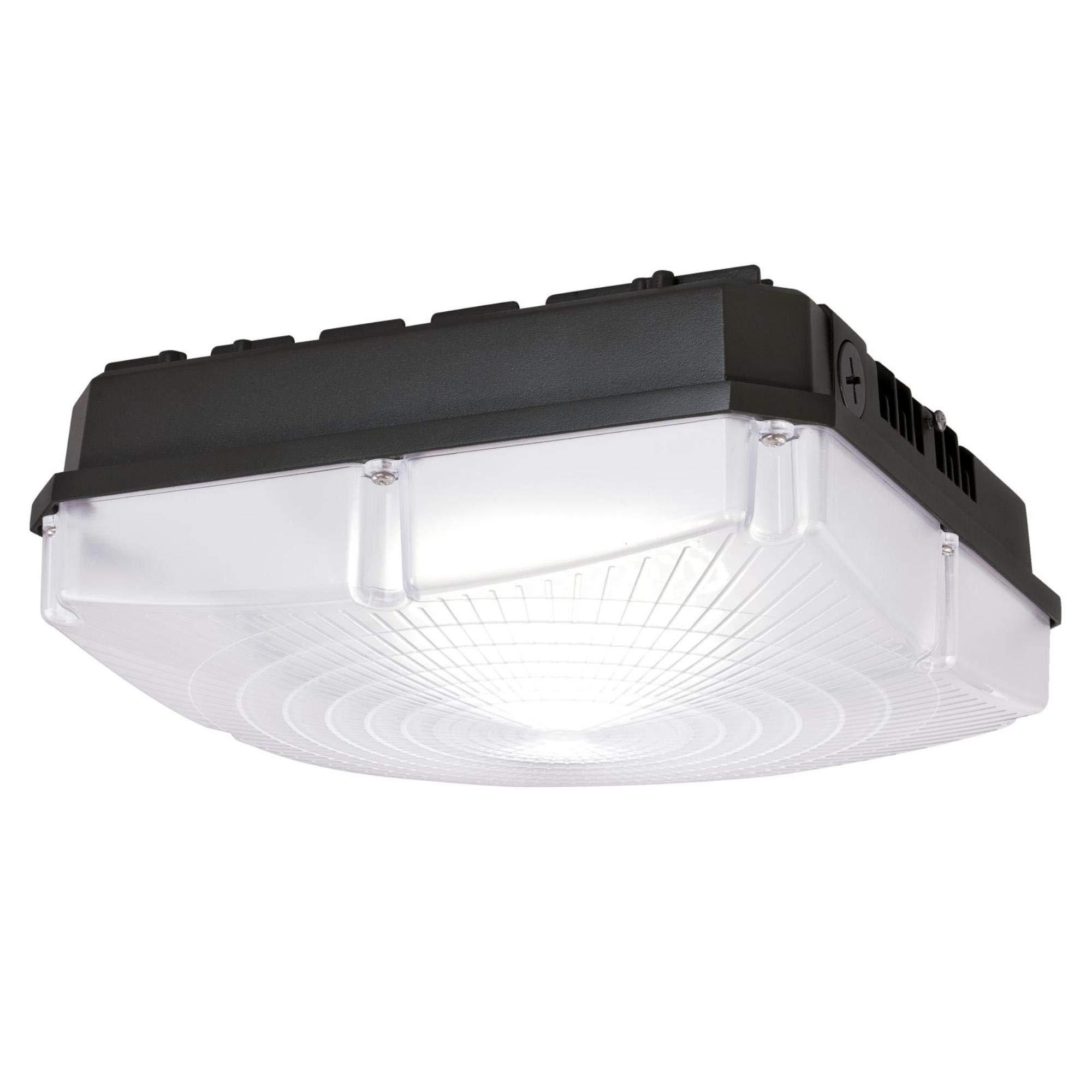 Westinghouse Lighting 6325600 40 Watt, Graphite Finish with Acrylic Shade LED Garage Canopy Fixture, White