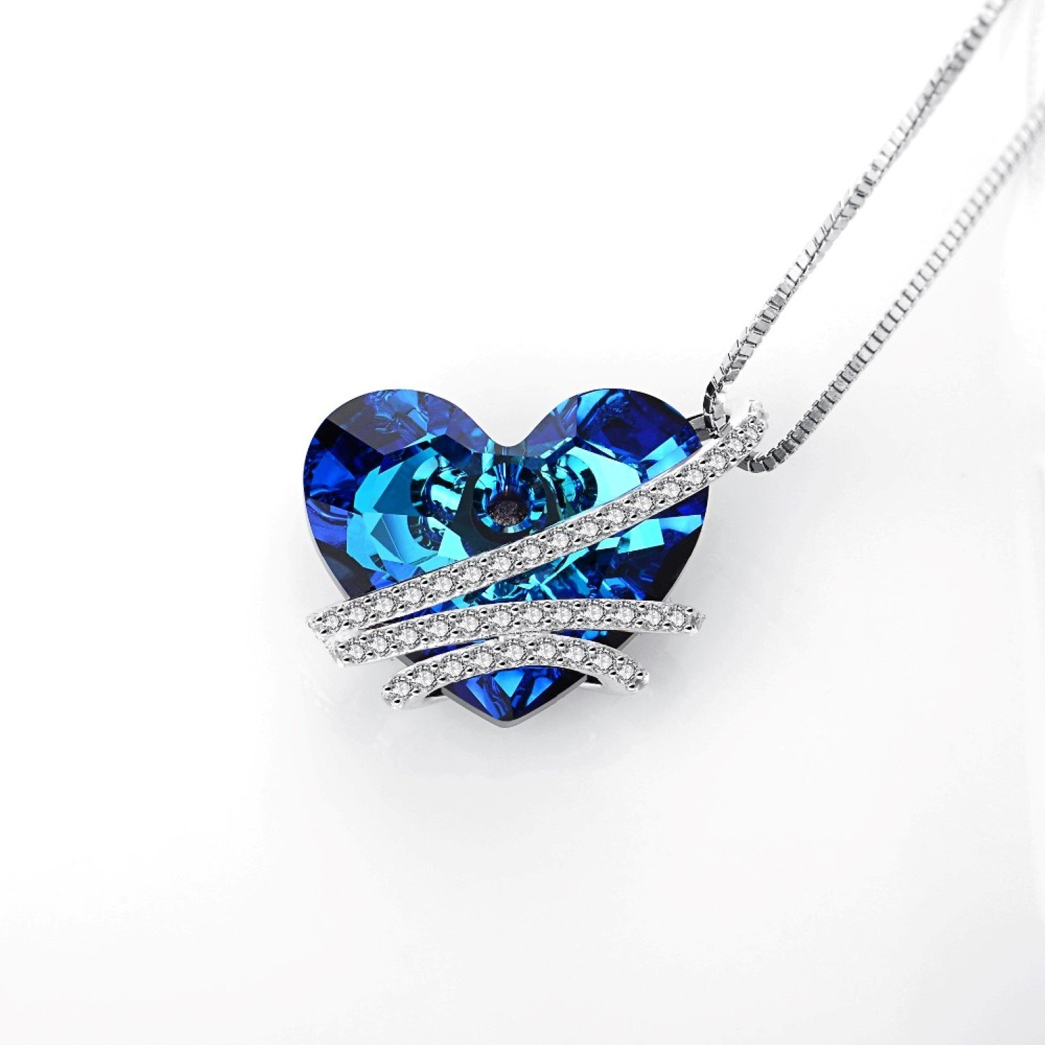 CS-DB Womens Necklaces by Silver Pendant Love Heart Austrian Crystal Girls Pendent