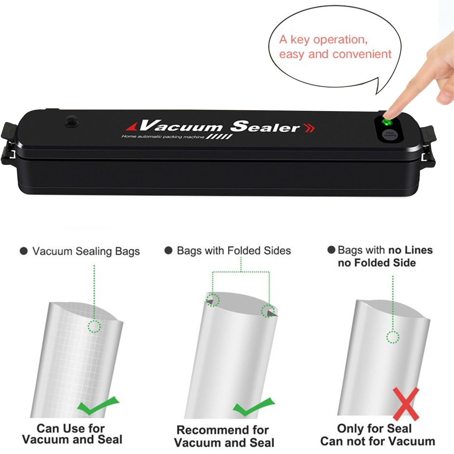 Vacuum Sealer Bamyko Portable Compact Vacuum Sealer Machine Automatic Vacuum Sealing System for Food Preservation and Storage + 15pcs Free Sealer Bags by Bamyko (Image #5)