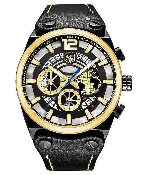 BENYAR - Reloj de pulsera para hombre con correa de piel casual y diseño de gran