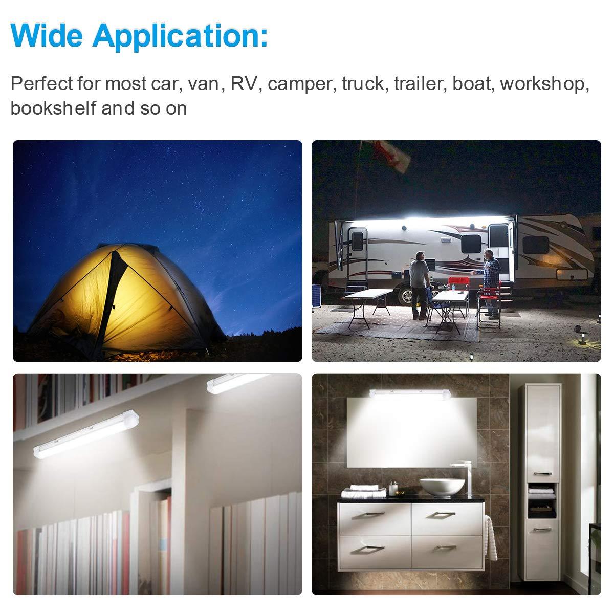 2pcs Interior Lights Lamp Strip Bar Universal for Car Camper Van Bus Caravan Boat Motorhome Kitchen Bathroom 340MM with 2 Extension cord 72 LEDs 12V-24V