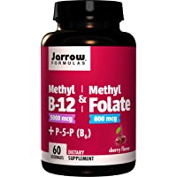 Jarrow Formulas Methyl B-12 & Methylfolate + P5P (B6) Lozenges, Cherry, 60 Count