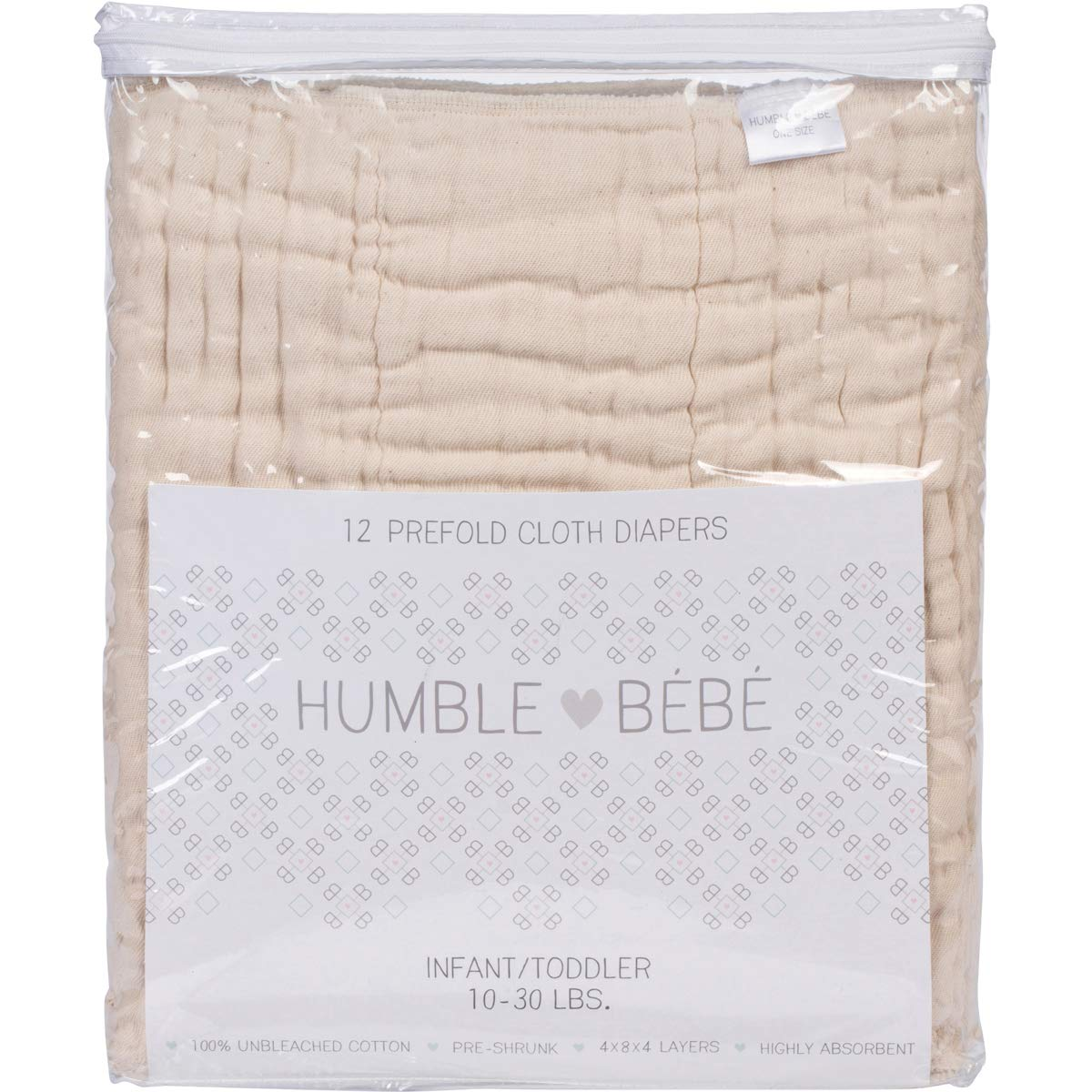 Prefold Cloth Diapers 10-30 lbs Multi-Use 12 Pack Fits Newborn Babies to Toddlers Pre-Washed Unbleached Premium Cotton