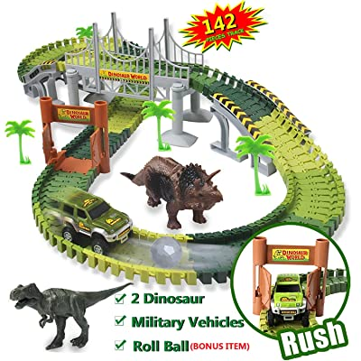MREUKEC Dinosaur Toys World Car Track Set,with 142 Pieces Flexible Tracks Set,2 Dinosaur Toys,1 Military Vehicles and 1 Plastic Roll Ball More Accessories, for Boys and Girls …: Toys & Games