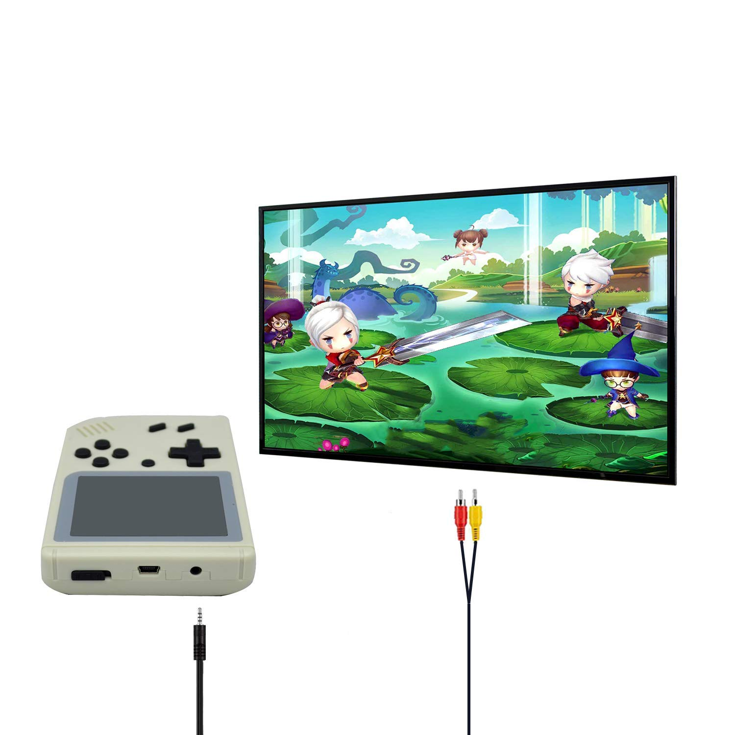 FLYFISH Handheld Game Console, Retro FC Game Console 3 Inch 168 Classic Games , Birthday Present for Children -White by FLYFISH (Image #6)