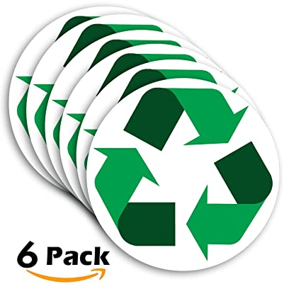 Amazon Recycle Symbol Sticker Sign 6 Pack 5 Inches