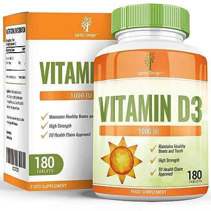 Vitamina D 1000 IU - Colecalciferol - Alta Concentración y Absorción - Vitamin D3 - Para