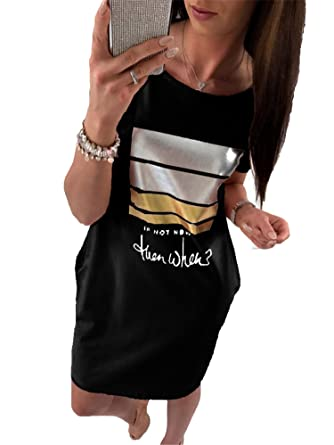 e88b3e1d6cf Summer Women Casual Short Sleeve Letter Print Dresses Loose Plus Size Long T  Shirts Dress
