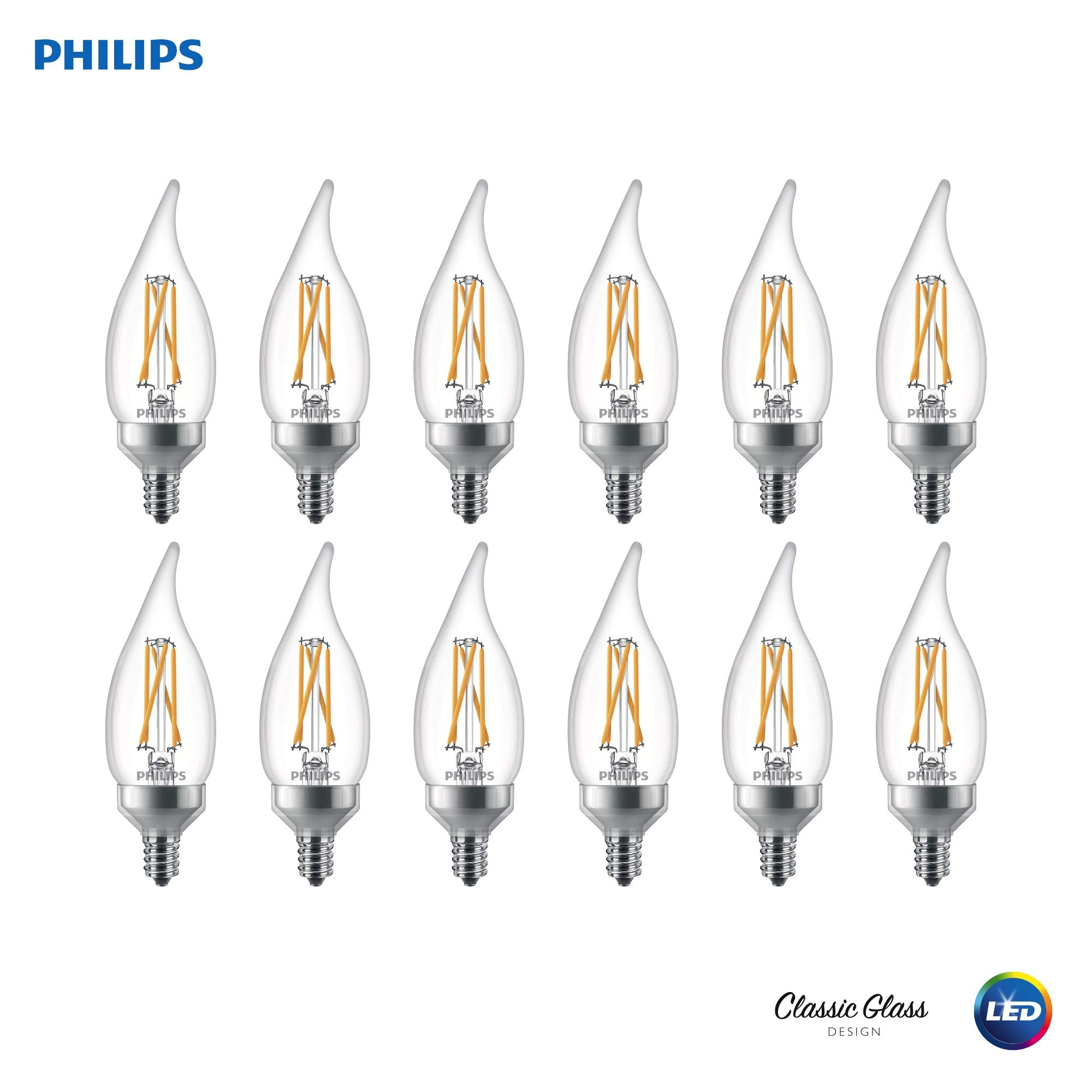 Philips 536680 LED Dimmable BA11 Clear X-Filament Glass Light Bulb with Warm Glow Effect: 500-Lumens, 2700-Kelvin, 5.5 (60-Watt Equivalent), Soft White E12 Candelabra Base, 12 Pack, Piece