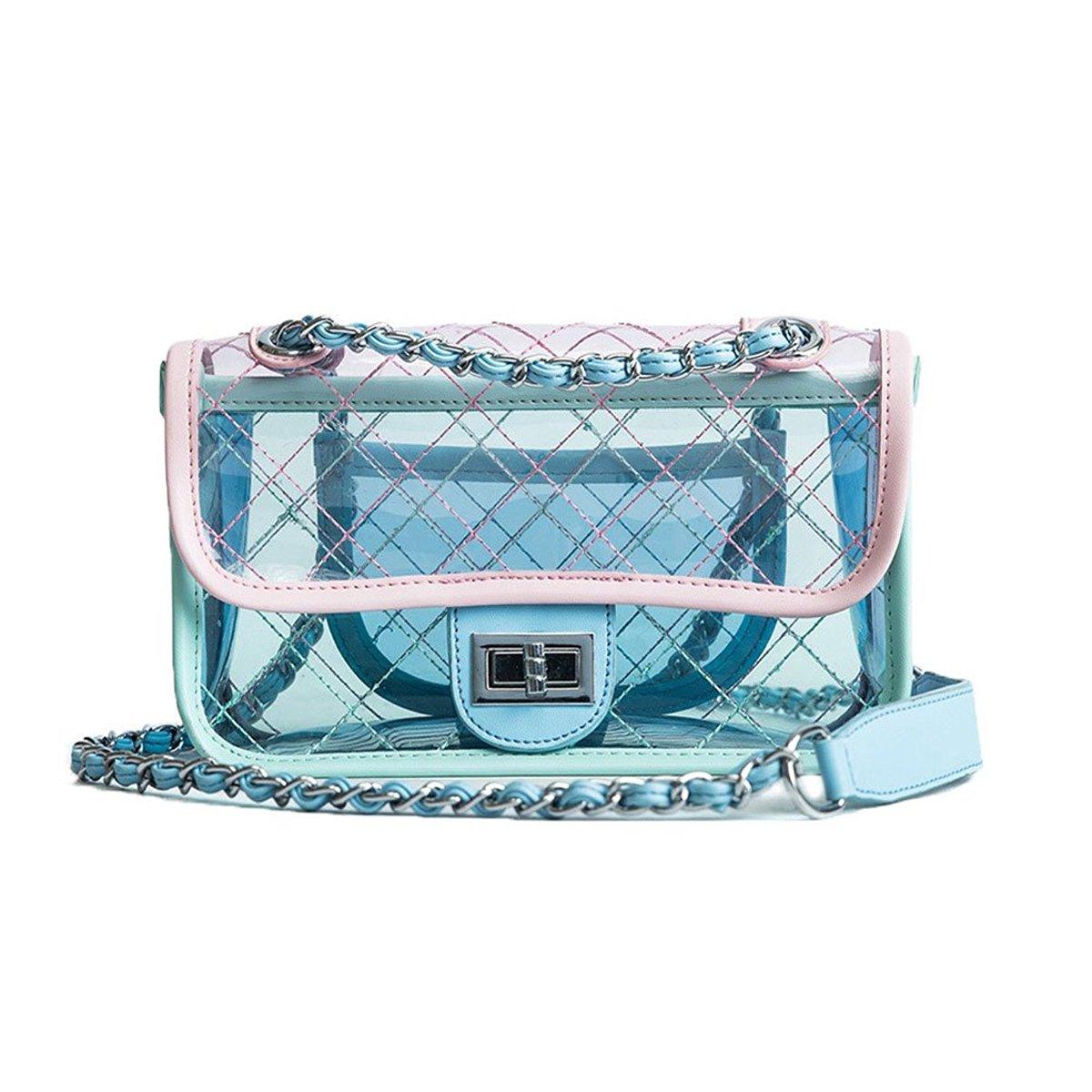 3aec749bd3ee YOOXI Womens' Clear Purse Turn Lock Handbags Chain Shoulder Bags NFL ...