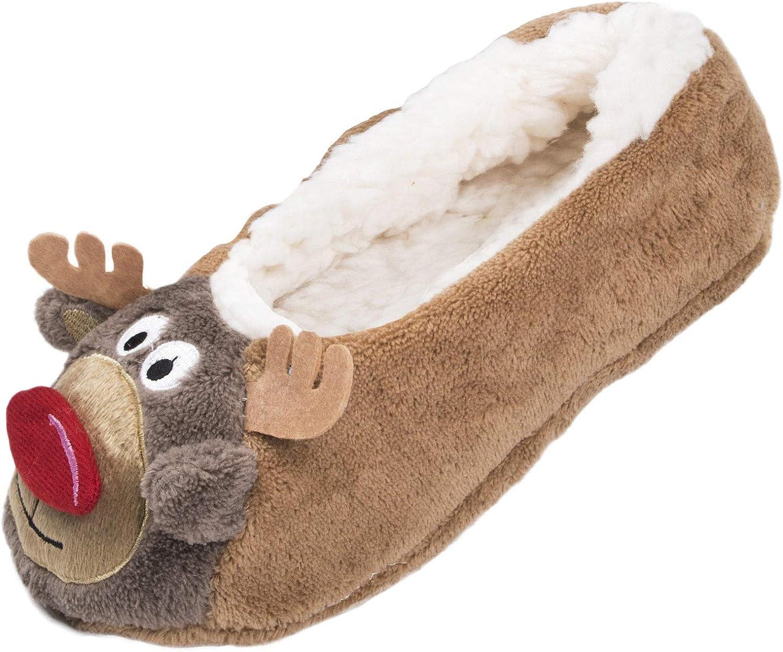 Ladies Christmas Slippers - Brown