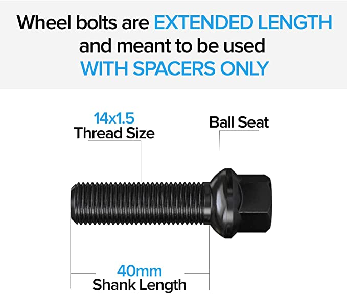 Solid Lugbolts E53 E83 dynofit 14x1.5 Extended Lug Bolts for Wheel Spacers E6x 02-08 7 Series 20pcs 40mm Shank Conical Seat ET Lug Studs for 2003-10 X3 00-05 X5