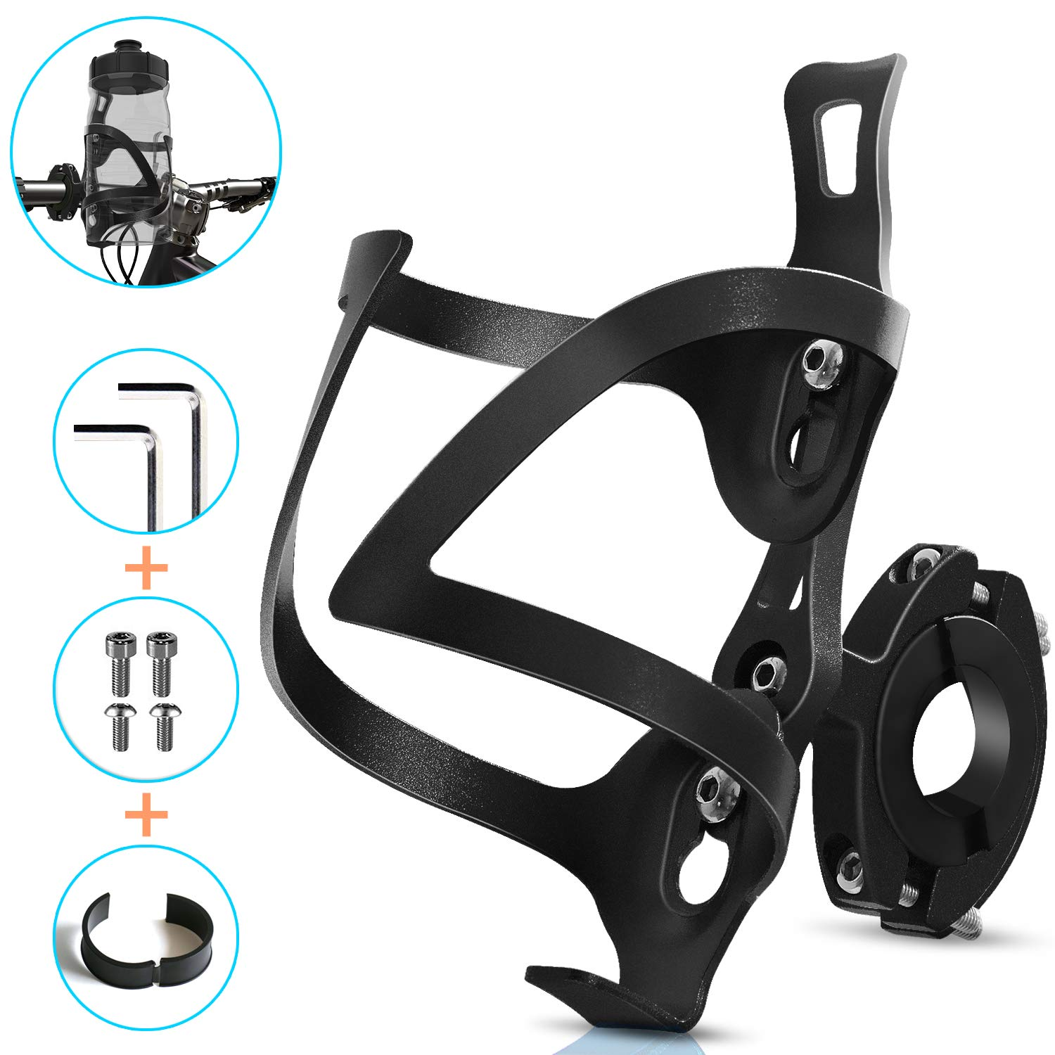AIKATE Bike Cup Holder, Bicycle 2-in-1 Bottle Bracket, Aluminum Alloy Water Bottle Cages, Universal Rotation Cup Drink Holders for Bike Handlebars, Motorcycle, MTB, Boat, Walker, Wheelchair, Stroller
