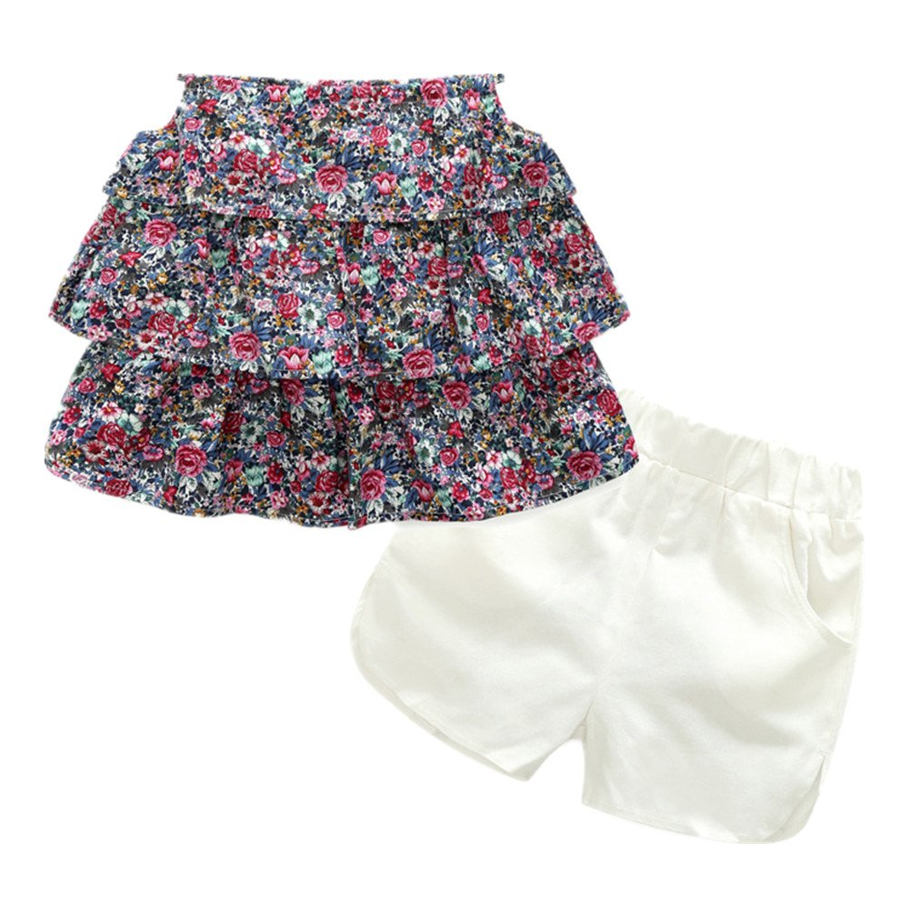 Beide Girls Summer Outfits 2 Piece White Shorts and Floral Sling Tops(4T, Floral 2)