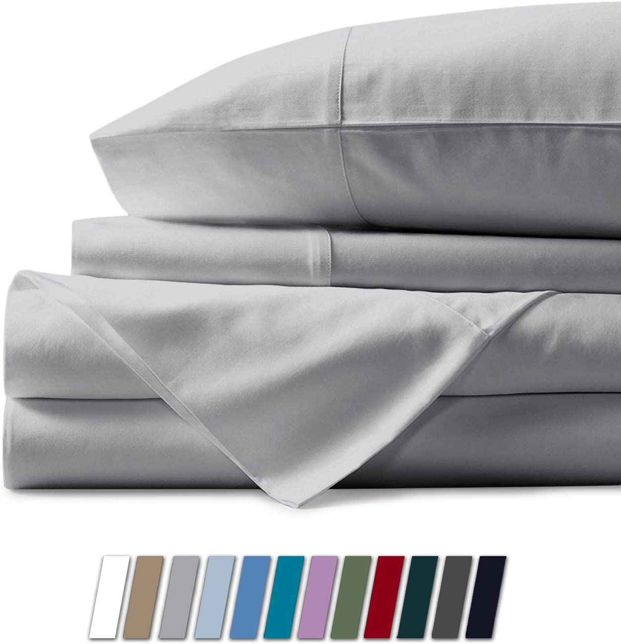 Mayfair Linen 100% Egyptian Cotton Sheets, Silver King Sheets Set, 600 Thread Count Long Staple Cotton, Sateen Weave for Soft and Silky Feel, Fits Mattress Upto 18'' DEEP Pocket