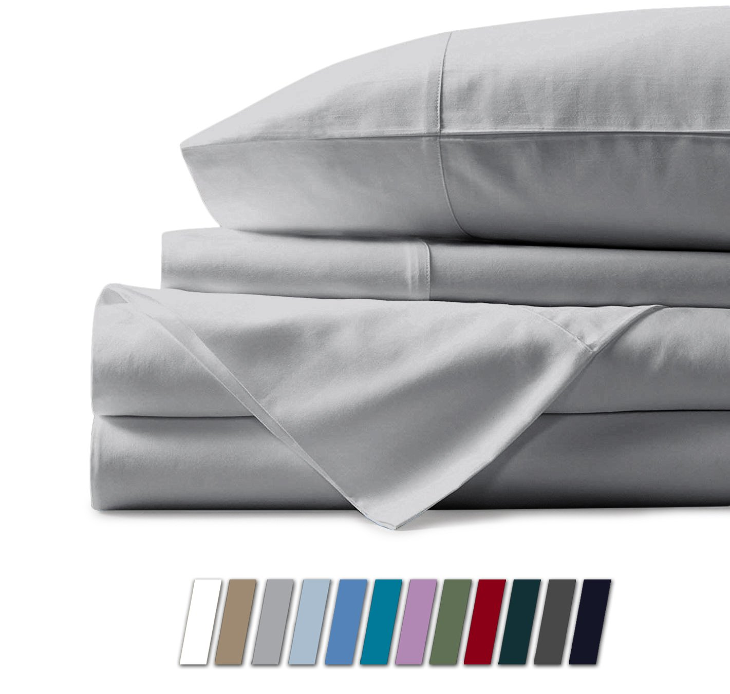 Mayfair Linen 100% Egyptian Cotton Sheets, White Twin Sheets Set, 800 Thread Count Long Staple Cotton, Sateen Weave for Soft and Silky Feel, Fits Mattress Upto 18'' DEEP Pocket