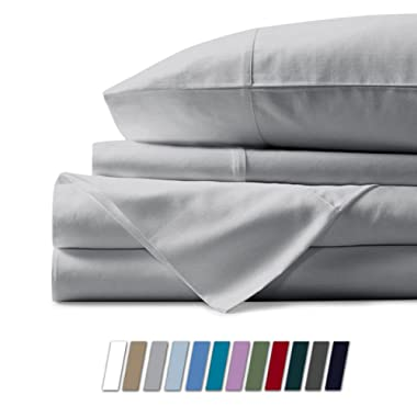 500 Thread Count 100% Cotton Sheet Silver Queen Sheets Set, 4-Piece Long-staple Combed Pure Cotton Best Sheets For Bed, Breathable, Soft & Silky Sateen Weave Fits Mattress Upto 18'' Deep Pocket