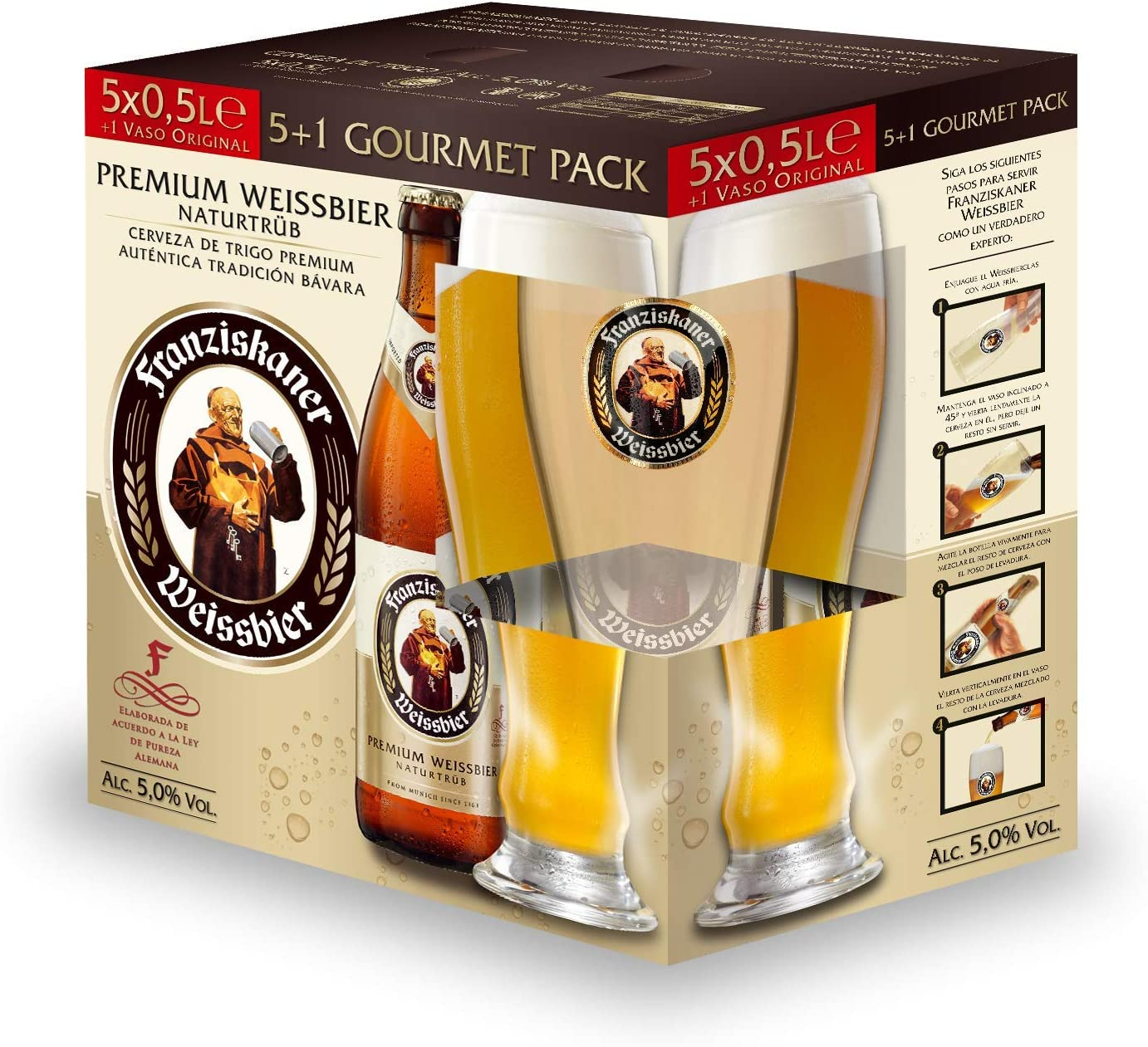 Franziskaner Cerveza + Copa - Pack de 5 x 500 ml: Amazon.es ...