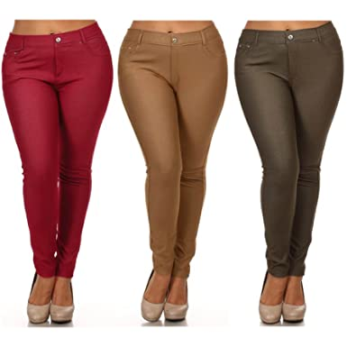 4d8d996009f 3 Pack Jeggings with a free 2 pack Legging in Regular and Plus Size (1XL
