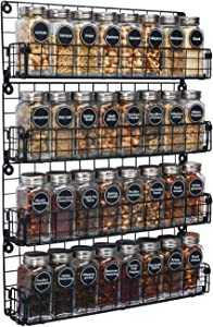 Spice Rack Organizer Wall Mounted 4-Tier Stackable Black Iron Wire Hanging Spice Shelf Storage Racks,Great for Kitchen and Pantry Storing Spices, Household Items,Bathroom and More(Patent No.:D909138S)