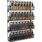 Spice Rack Organizer Wall Mounted 4-Tier Stackable Black Iron Wire Hanging Spice Shelf Storage Racks,Great for Kitchen and Pa