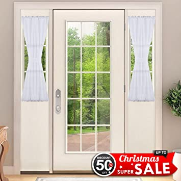 Sidelight Panel Curtains For French Door   NICETOWN Side Light Front Door  Curtain With Tieback,