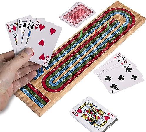 Uyuke Cribbage Board Game Set Juego de Cartas clásico con Marcador de Madera Juegos de Mesa Juegos Familiares Juego de Naipes: Amazon.es: Hogar