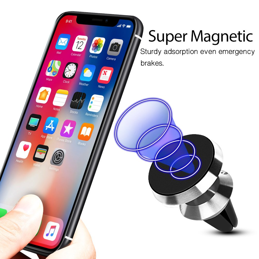 Silver TIQUS Multi-Angle Rotation Cellphone Stand Support Dashboard Mount Car Universal Magnetic Car Phone Holder Home Office Shijihuaxia