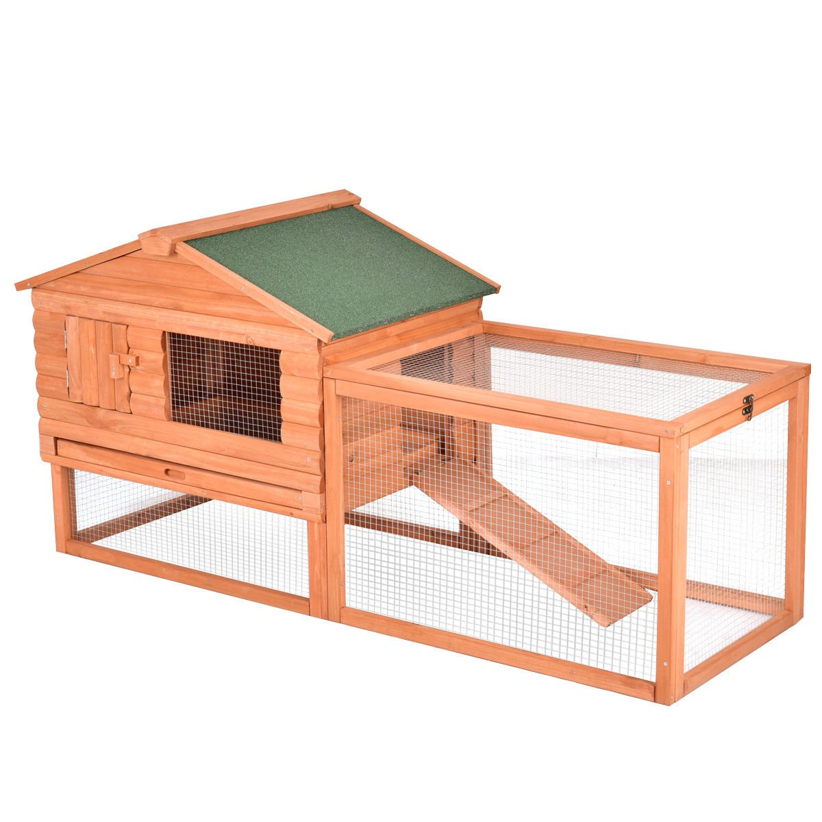 Tangkula Chicken Coop 64'' Rabbit Hutch Wooden Garden Backyard Bunny Hen House Pet Supplies with Run