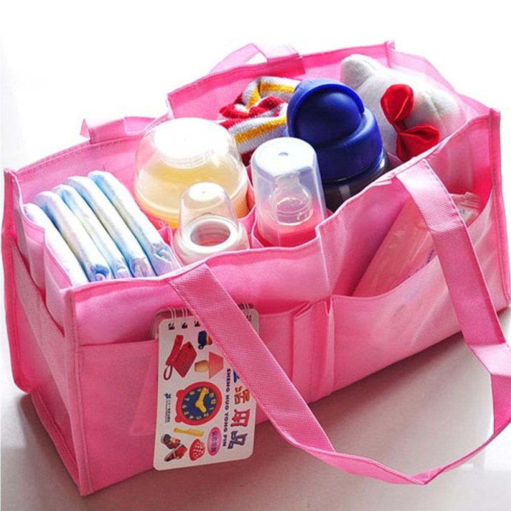 Fashion Gallery Mummy Bag Bottle Storage Multifunctional Separate Bag Nappy Maternity Handbag Baby Tote Diaper Organizer AB (Pink)