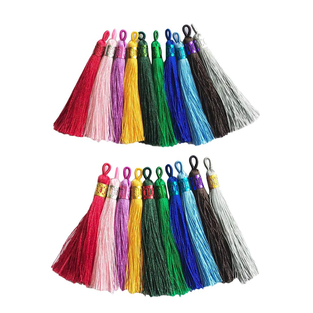 Combo 1 Baoblaze 10 Pieces 9cm Long Multicolor Cotton Silk Tassel with Filigree Bead Caps for Earring Charm Pendant Satin Tassels DIY Jewelry Making Findings
