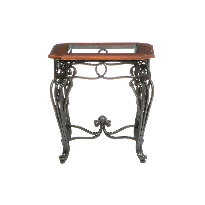 Prentice Side End Table - Elegant Iron Wrought Scrollwork - Dark Cherry w/ Black Finish