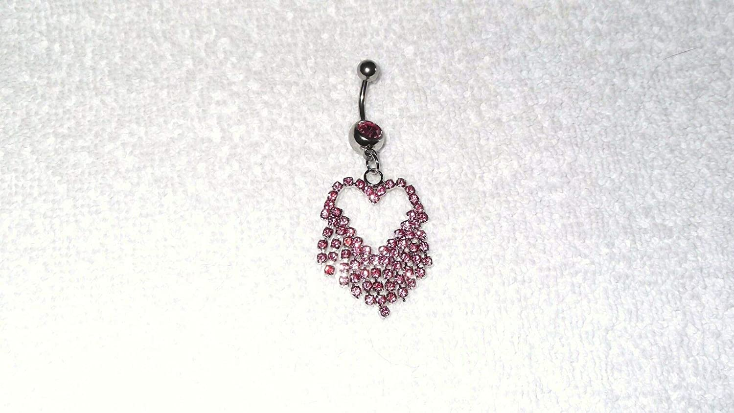 Pink Fringe Crystal Heart Belly Button Navel Ring Body Jewelry Piercing 14g #IS-736
