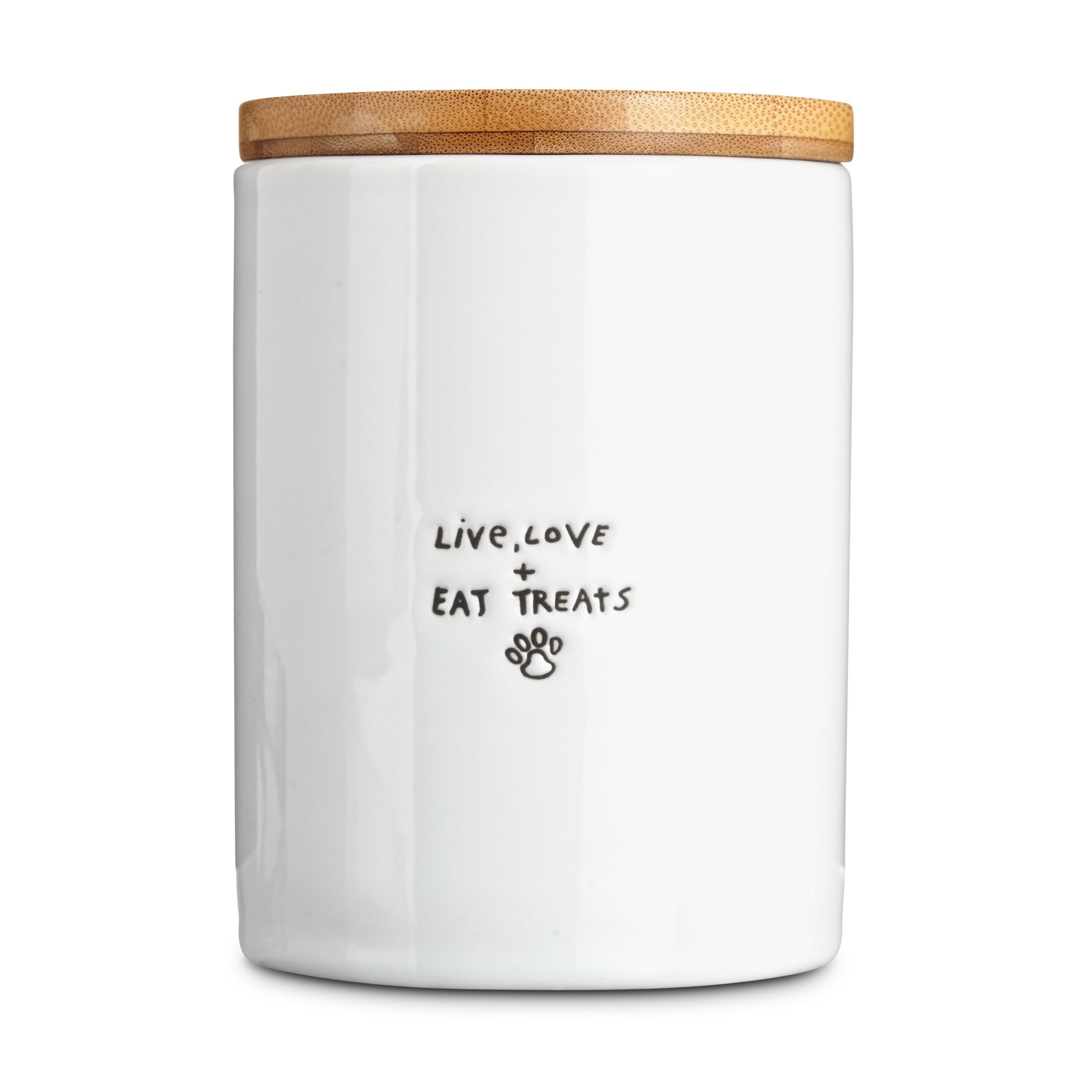 Harmony ''Live, Love & Eat Treats'' Ceramic Dog Treat Jar, Small, White / Natural Wood
