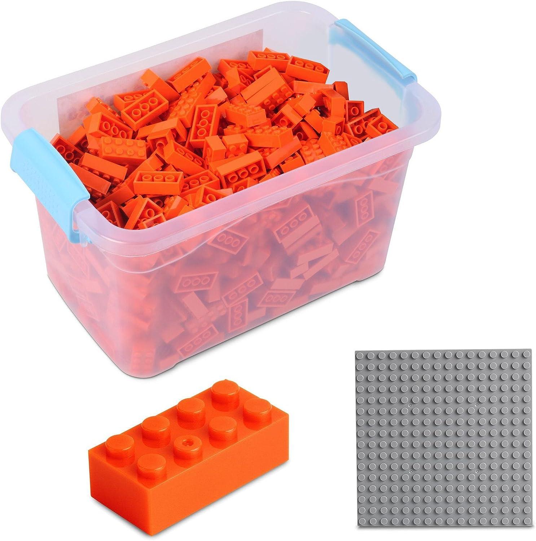 Katara Juego De 520 Ladrillos Creativos En Caja Con Placa De Construcción 100% Compatibles Con Lego Classic, Sluban, Papimax, Q-bricks, Color Naranja (1827) , color/modelo surtido: Amazon.es: Juguetes y juegos