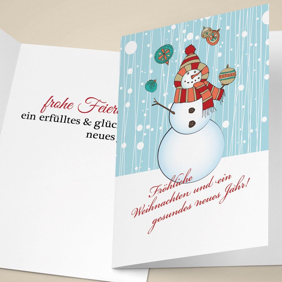 100er Set Set Set Fröhliche Unternehmen Weihnachtskarten mit, mit Weihnachtskugeln jonglierendem, Schneemann, innen blanko  weiß als geschäftliche Weihnachtsgrüße   Neujahrskarte   Firmen Weihnachtskarte für Kunden, Geschäftsp c6311e