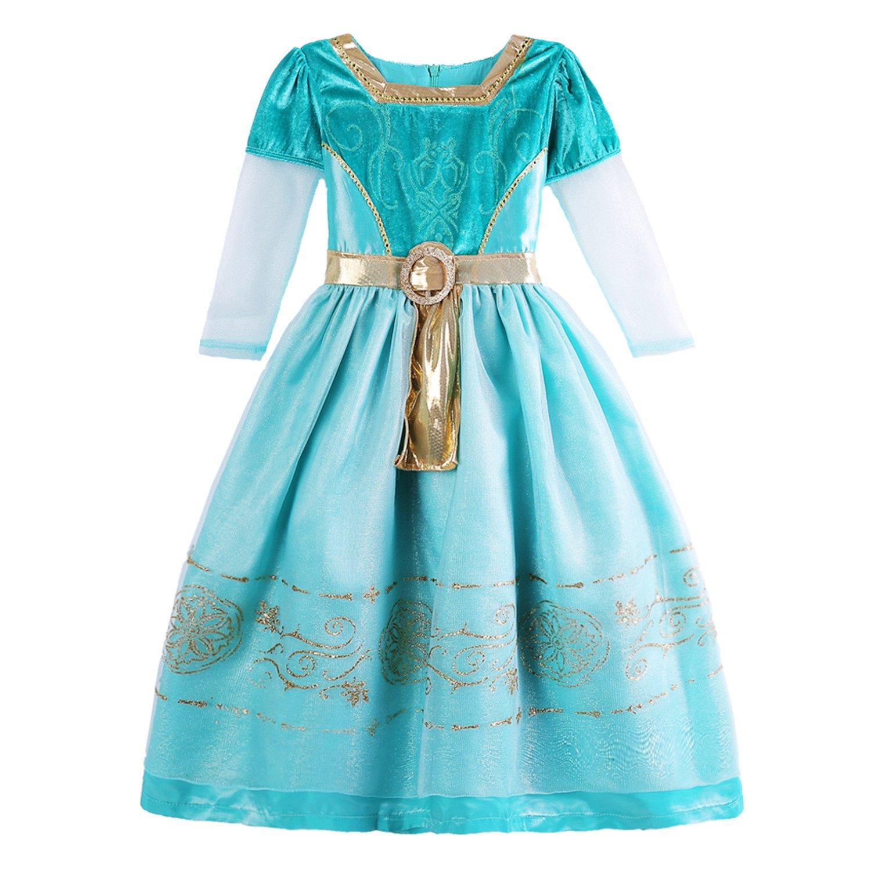 ELSA & ANNA® Princesa Disfraz Traje Parte Las Niñas Vestido de Navidad ES-MRD01 (MRD01, 6-7 Años)