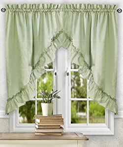 Ellis Curtain Stacey 60-by-38 Inch Ruffled Swag Curtain (Sage)