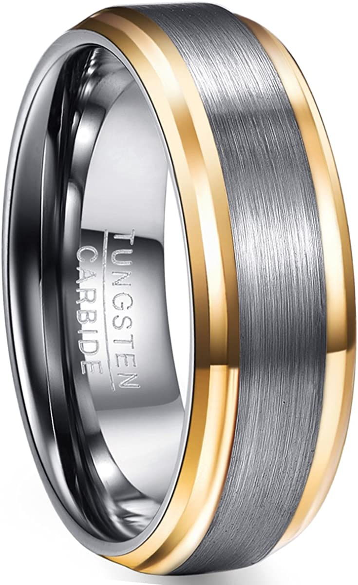 NUNCAD Men's Silver Tungsten Carbide Ring 8mm Gold Plated Beveled Edge Brushed Finish