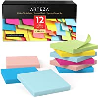 ARTEZA 3x3 Inches Sticky Notes, 12 Pads, 100 Sheets Per Pad, Bulk Pack, Assorted Colors, Re-Adhesive, Clean Removal, for…