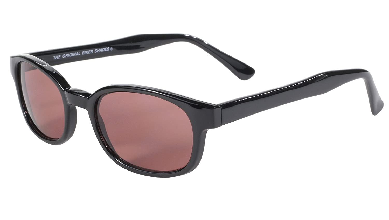 Pacific Coast Original KDs Biker Sunglasses (Black Frame/Rose Colored Lens)