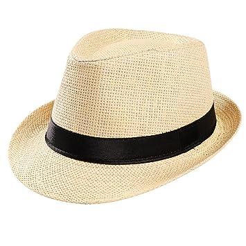Amlaiworld_Gorras Gorras de Hombre Mujer Unisex Trilby Gangster Mujer Hombre Sombrero de Paja de Sol de Playa Banda Sombrero para el Sol (Beige): Amazon.es: ...