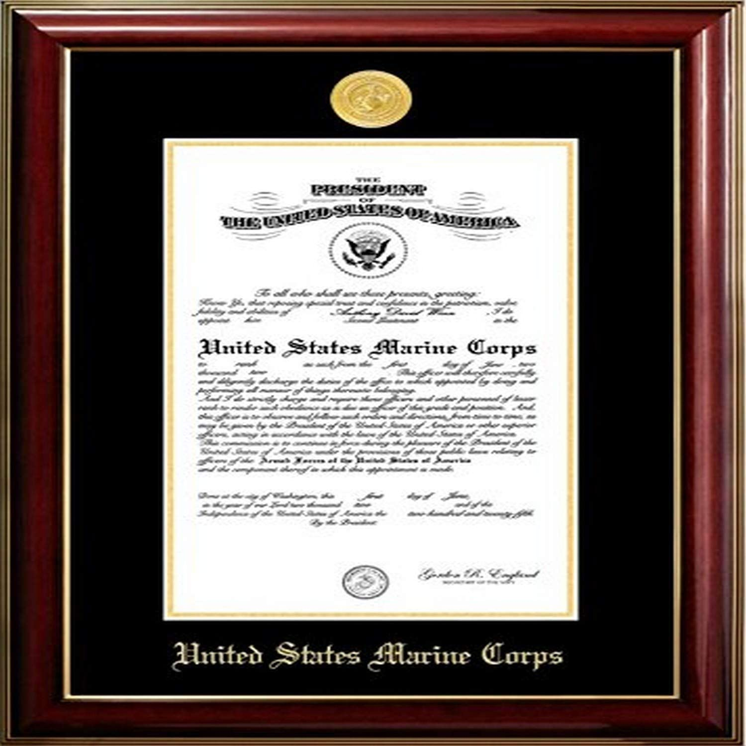 Mahogany 10 x 14 Campus Images MACCL001 Marine Certificate Classic Frame with Gold Medallion