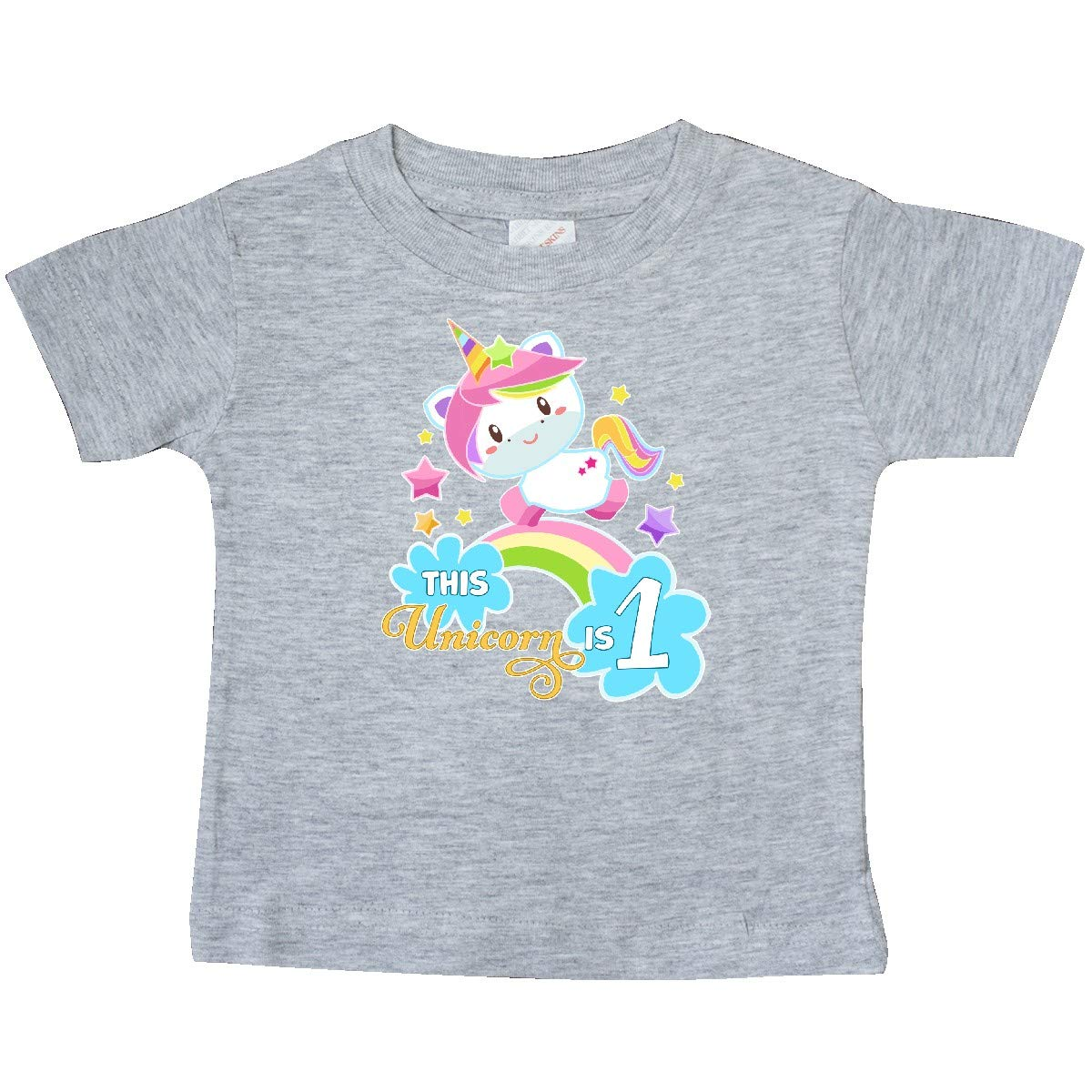 inktastic This Unicorn is 1 with Unicorn and Rainbow Baby T-Shirt