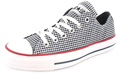 735e97ed45e4 New Womens Ladies Navy White Gingham Pattern Converse Classic Pumps - Navy  White