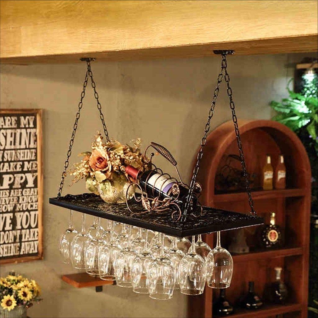 ワイングラスラック、レトロシェルフワイングラスホルダーアイアンアートワイングラスラックサスペンションワイングラスラックシャンパングラスラックガラスラック (色 : ブラック, サイズ さいず : 60*31cm) B07CY3P2FB Parent ブラック 60*31cm